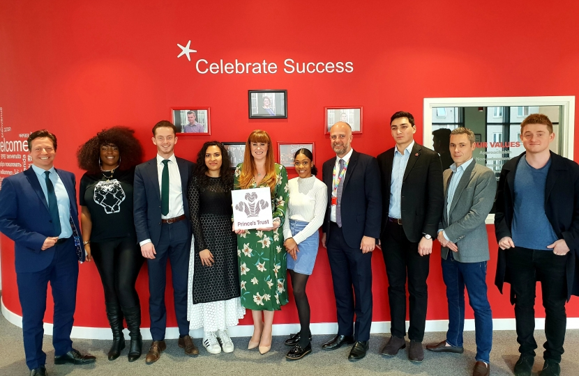 Nigel Huddleston MP with Kelly Tolhurst MP and Young Entrepreneurs at Prince's Trust