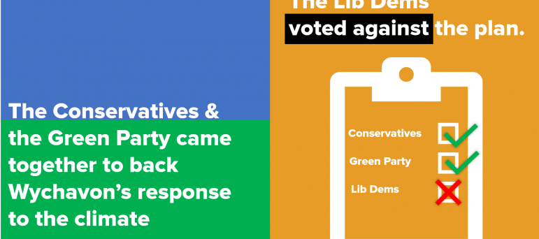 Wychavon's Intelligently Green Plan was approved by all Conservative councillors. The Green Party also joined the Conservatives in voting for it. The Liberal Democrats voted against the plan.